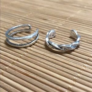 Set of 2 Silver Adjustable Toe Rings